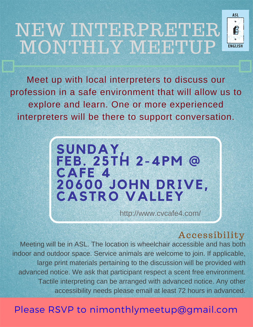 New Interpreter Monthly Meetup Flyer. All flyer text in linked event.